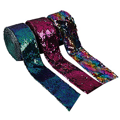 Subesty 6yard/lot 75mm Reversible Sequin Fabric DIY Glitter Sequin Ribbon for Waistband Head Wear Materials Wedding Decoration 3 Colors
