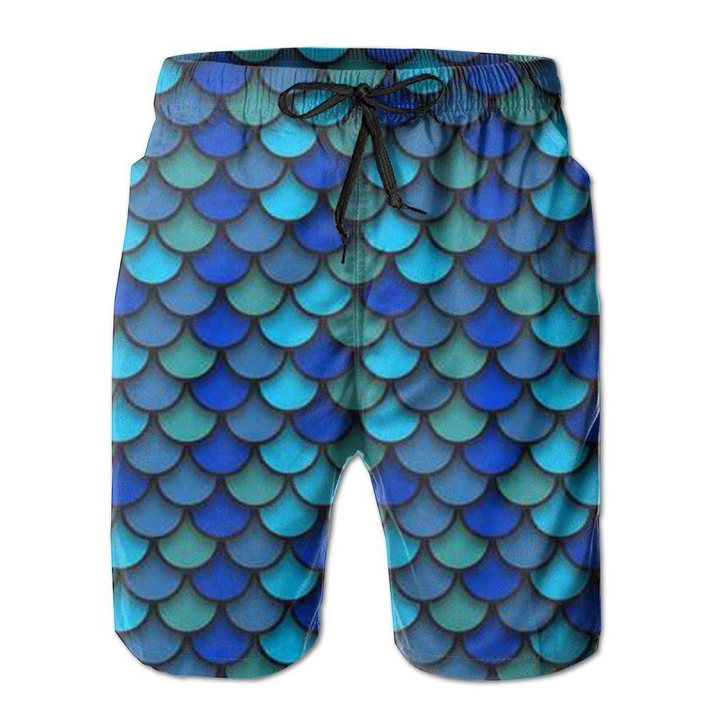ZeTian H Blue Pattern of Fish Scales Mens Quick Dry Swim Trunks Beach Shorts