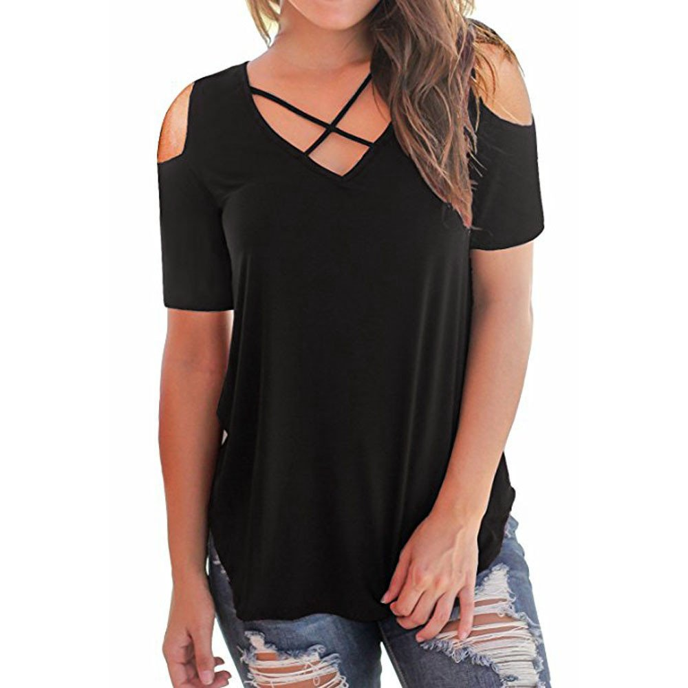 Sunmoot Clearance Sale 2019 Newest Elegant Blouse for Womens Sexy Off Shoulder Cold Shoulder Summer Casual Short Sleeve Criss Cross Front V-Neck T-Shirt Tops Tunic