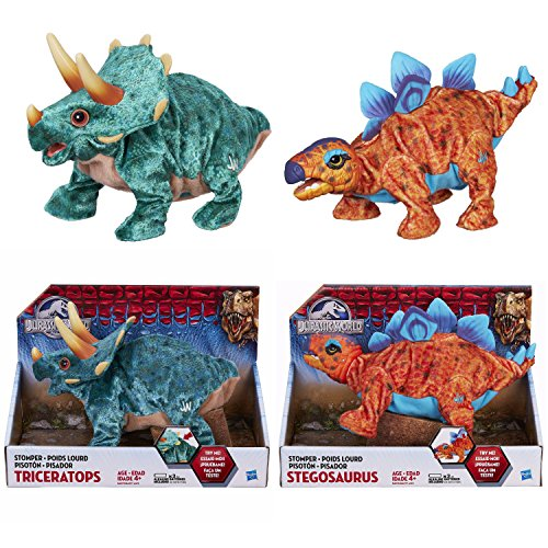 Jurassic World Stegosaurus and Triceratops Electronic Plush Stompers