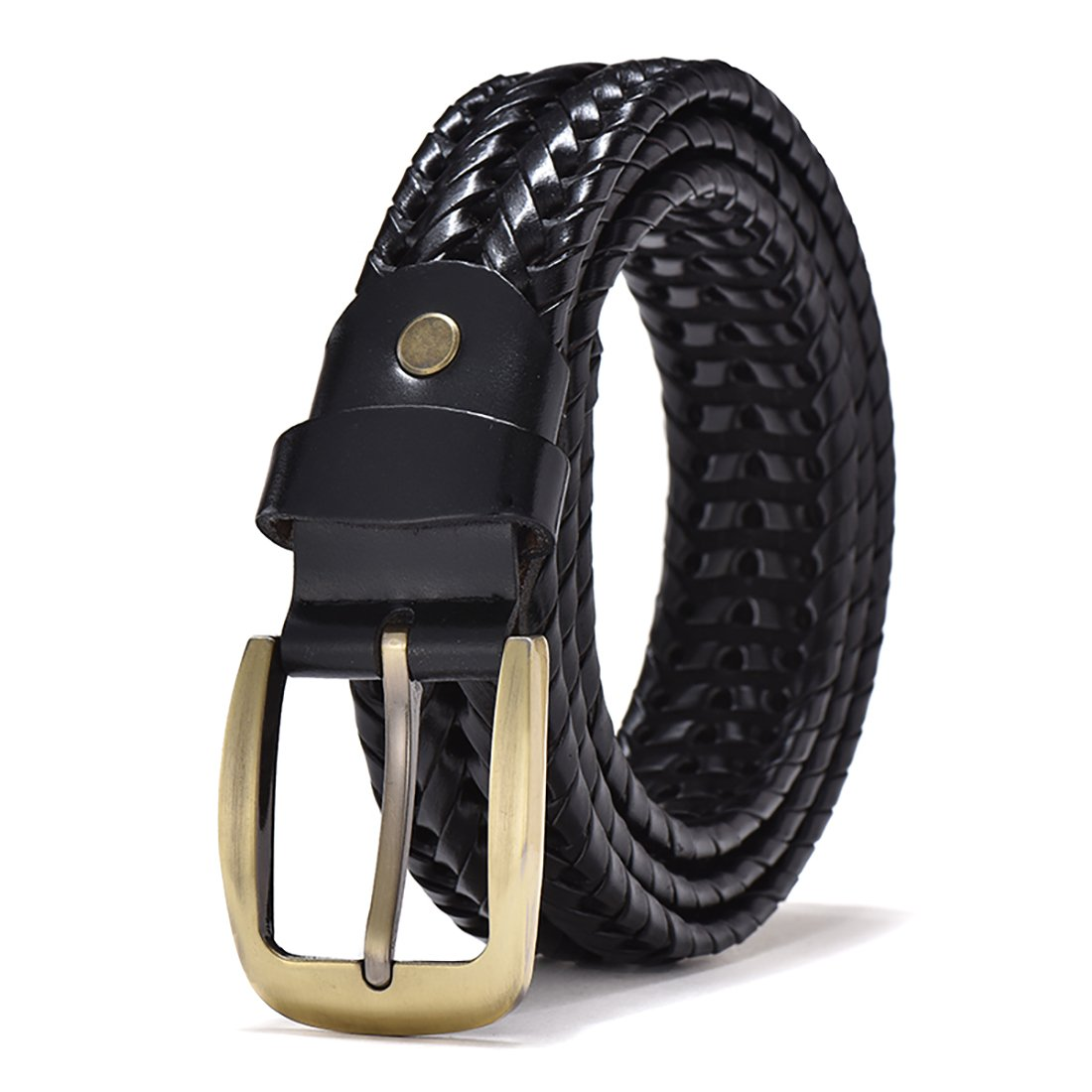 PAKULOVE Men's Braided Belt Genuine Leather Strap for Jeans (Black, waist:31-33)