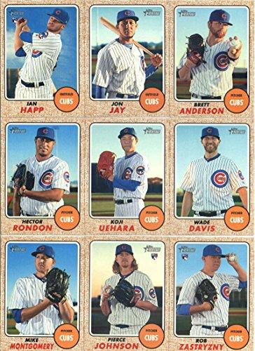 2017 Topps Heritage High Numbers Chicago Cubs Team Set of 9 Cards: Pierce Johnson#504, Mike Montgomery#509, Rob Zastryzny#537, Hector Rondon#580, Koji Uehara#595, Wade Davis#618, Jon Jay#653, Ian Happ#660, Brett Anderson#700