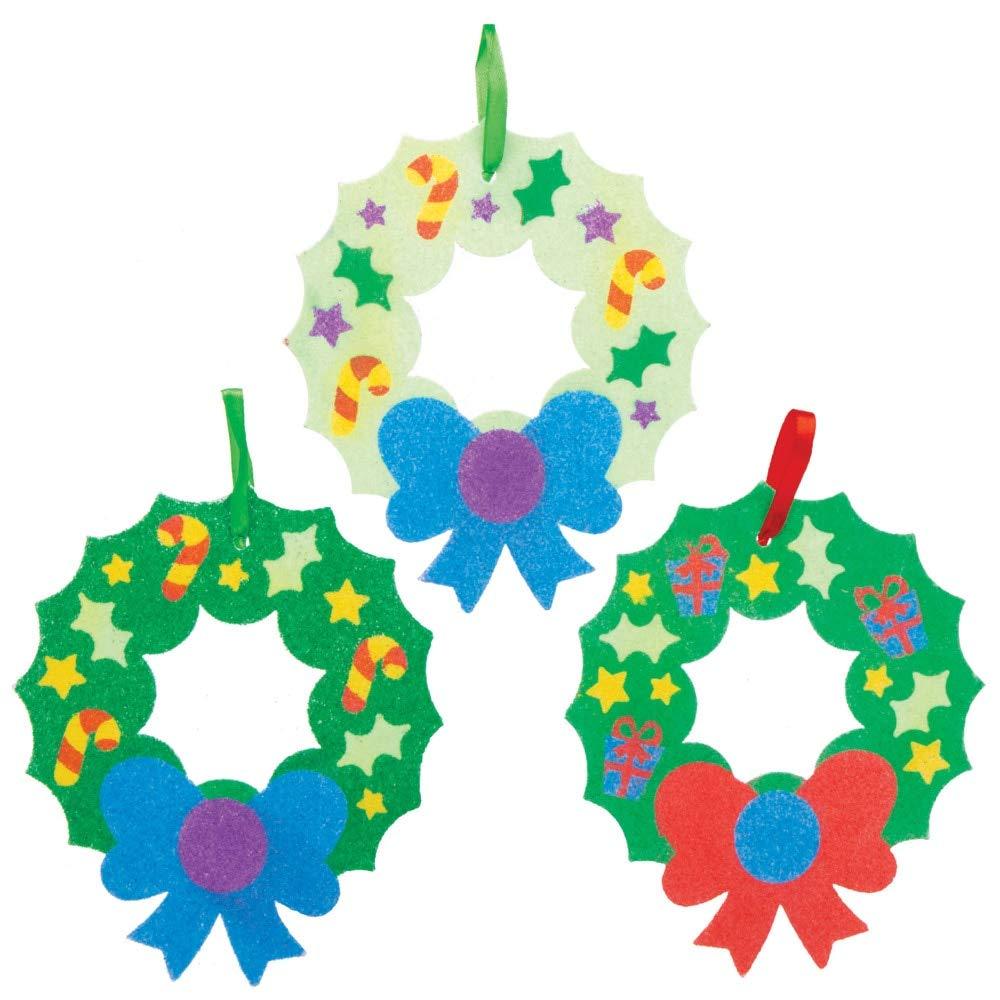 Loisirs cr/éatifs festifs pour Enfants Paquet de 6 Baker Ross Kits de couronnes de No/ël en Sable color/é