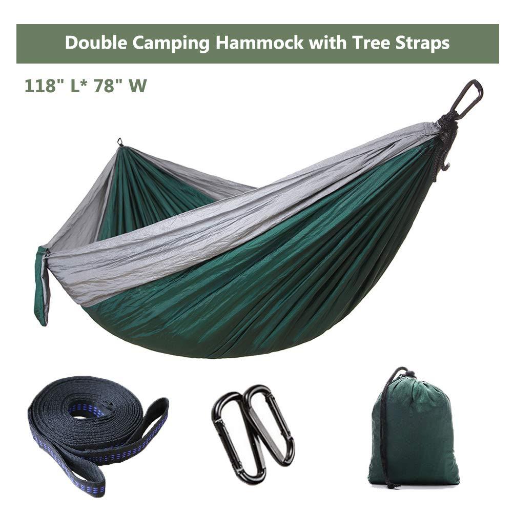Ufanore Double Camping Hammock, 500lbs Hammock for Outdoor Indoor Backpacking Travel Beach Garden Yard, Lightweight Nylon Hammock, Portable Parachute Hammock