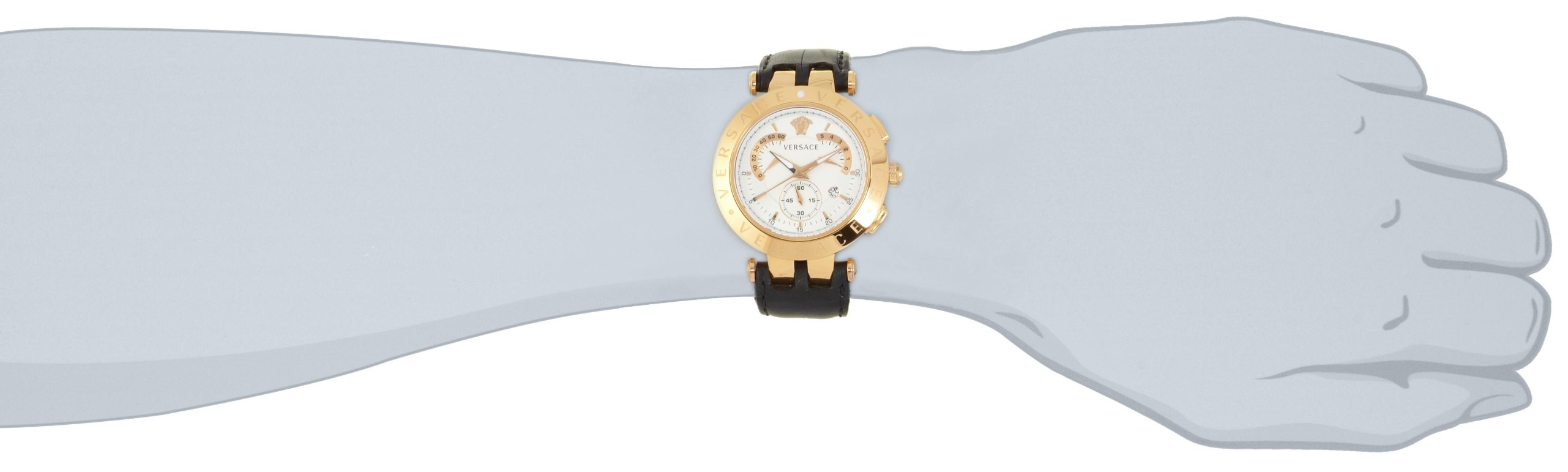 Versace Men's 23C80D002 S009 ''V-Race'' Rose Gold-Plated Watch with Black Leather Band by Versace (Image #3)