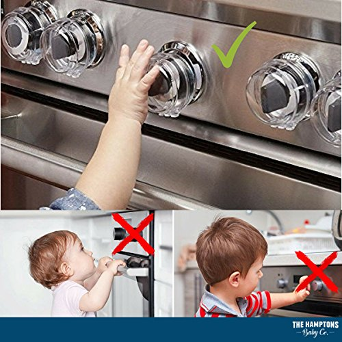 Clear Stove Knob Safety Covers for Gas Stove (5 Pack) Child Safety Guards for Fire Protection, Large Universal Design - Baby Proofing Your Oven Knob Cover & Child Proof Kitchen by The Hamptons Baby by The Hamptons Baby (Image #3)