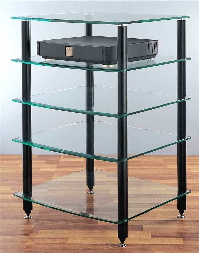 Black VTI 5 Shelf Black Glass Audio Rack-Black
