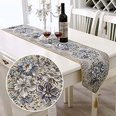 BlueTop Classic Luxury Embroidery European Style Tassel Dining Manual Table Runners Sequined Lace Hotel Bed Coffee Table Runners