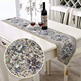 BLUETOP Embroidery Polyester Table Runners,European Style Tassel Dining Manual Luxury Classy Hotel Bed Coffee Table Linens Runners Cloth for Christmas Gift (Blue, 98''x11'')