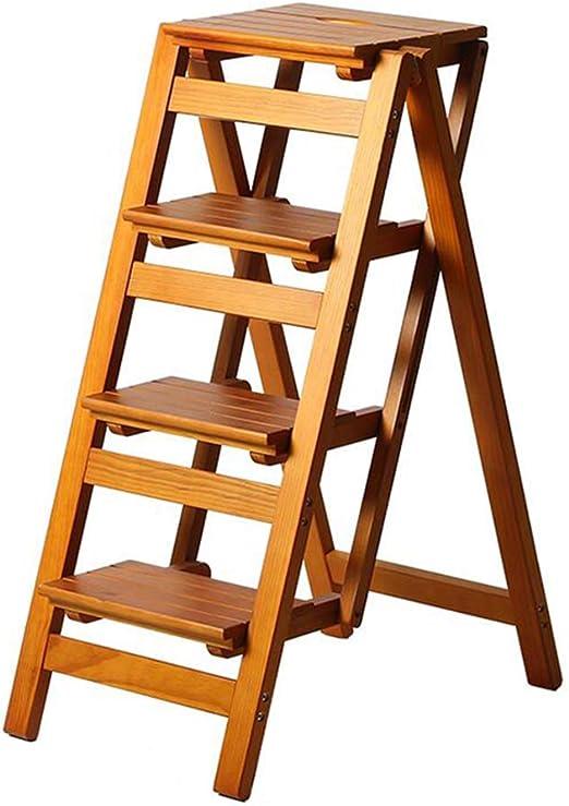 Taburete Plegable de 4 peldaños Escalera de Madera para el hogar ...