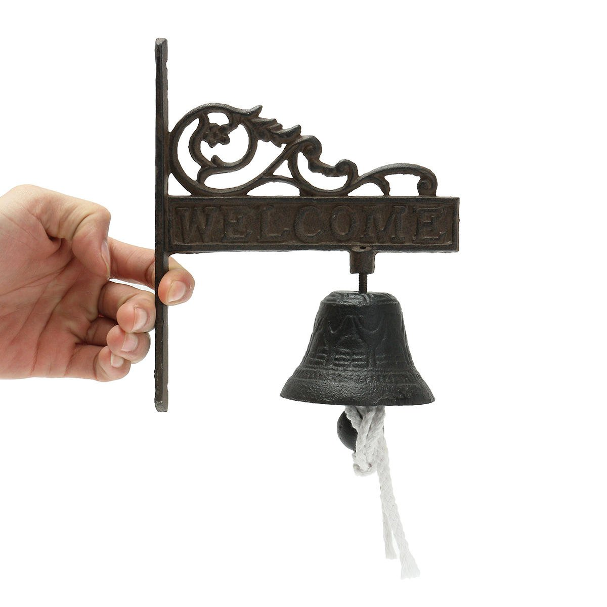 Chains Doorway Chime - Vintage Rustic Solid Metal Cast Iron Hanging Wall Mounted Home Doorbell - Cast-Iron Alexander Graham Branding Campana Gong Threshold Smoothing Access Buzzer - 1PCs