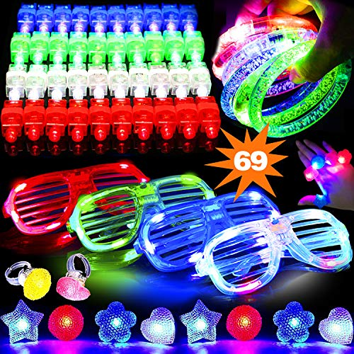 69 PCS LED Light Up Toys Glow in the Dark Party Supplies for Kids Teens Adults, 2019 LED Party Favor with 50 Finger Light 4 Flashing Glasses 4 Glow Bracelet -