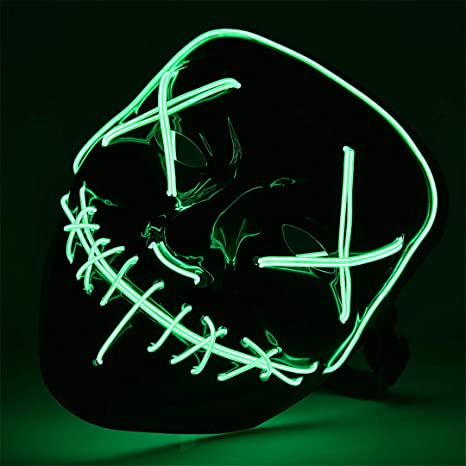 Amazon.com: Halloween LED Mask The Purge Mascara Led Mask Light Up Neon Skull Mask Party Glow in Dark Festival Cosplay Costume Supplies Purple: Home & ...