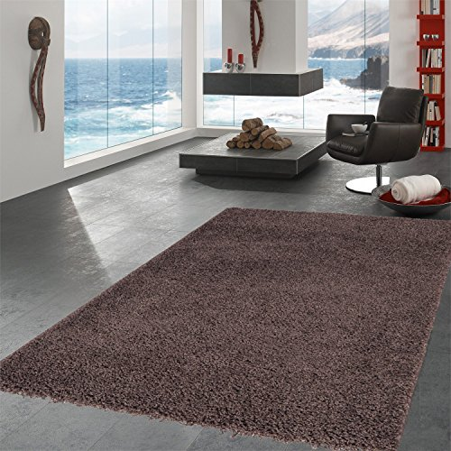 Ottomanson Soft Cozy Color Solid Shag Area Rug Contemporary Living and Bedroom Soft Shag Area Rug, Brown, 5'3