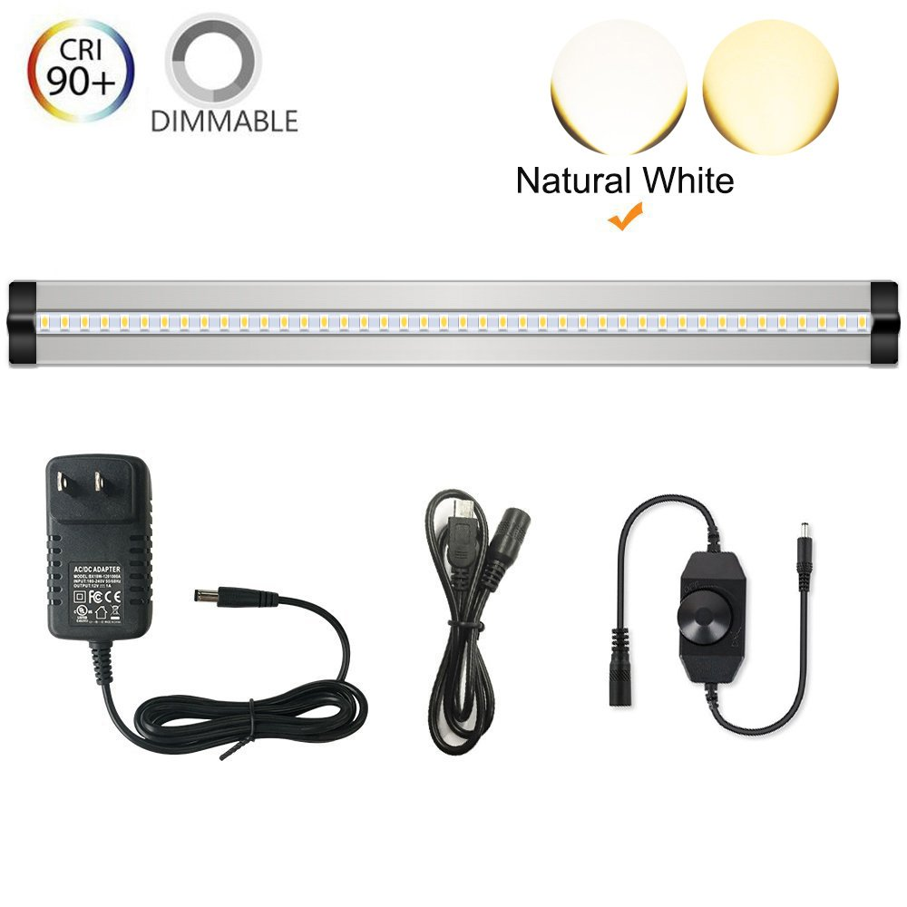 Ultra Thin LED Under Cabinet/Counter Kitchen Lighting Plug-In, Dimmable 2 Coin Thickness LED Light with 42 LEDs, Easy Installation Natural White 12V/1A 5W/450LM CRI90, All in One Kit