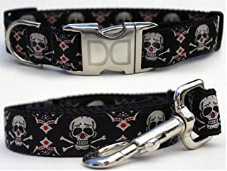 "product image for Diva-Dog 'Billy Bones' Custom Small Dog 5/8"" Wide Dog Collar with Plain or Engraved Buckle, Matching Leash Available - Teacup, XS/S"