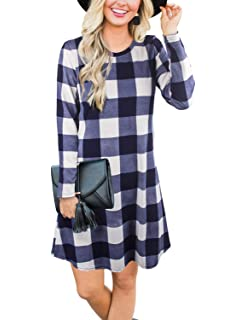 21c238733b4a1 Blooming Jelly Women s Plaid Swing Dress Long Sleeve Round Neck Tunic Mini  Dress