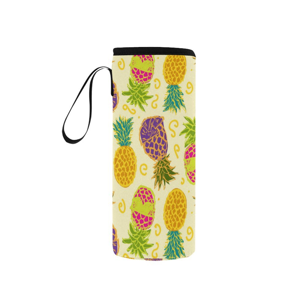InterestPrint Vintage Pineapples Neoprene Water Bottle Sleeve Insulated Holder Bag 7.04oz-12.67oz, Exotic Fruit Sport Outdoor Protable Cooler Carrier Case Pouch Cover with Handle