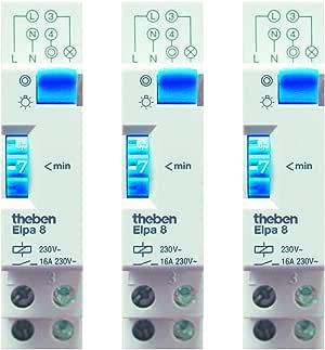 Theben 0080002 ELPA 8 - Minutero de escalera - carril DIN - electromecáncio - temporizador - paquete de 3: Amazon.es: Bricolaje y herramientas