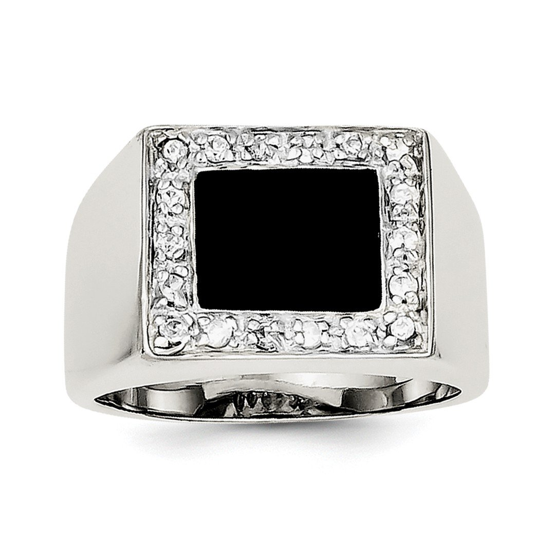 ICE CARATS 925 Sterling Silver Mens Cubic Zirconia Cz Black Onyx Band Ring Size 10.00 Man Fine Jewelry Dad Mens Gift Set