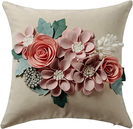 Jwh 3d Flowers Accent Pillow Case Solid Suede Cotton Cushion Cover Decorative Home Bed Living Room Shell Gift 18 X 18 Inch Pink Home Kitchen