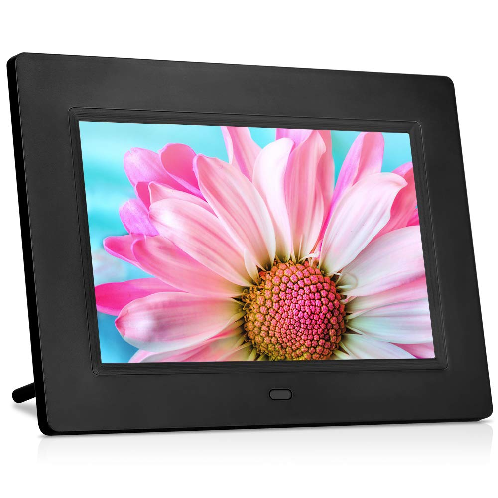 MRQ 7 Inch Digital Photo Frame Play Photos with Slideshow, Full HD IPS Display 180° View Angle Digital Picture Frame with MP3, Calendar, Alarm, Remote Control Function, Support USB and SD Card by MRQ