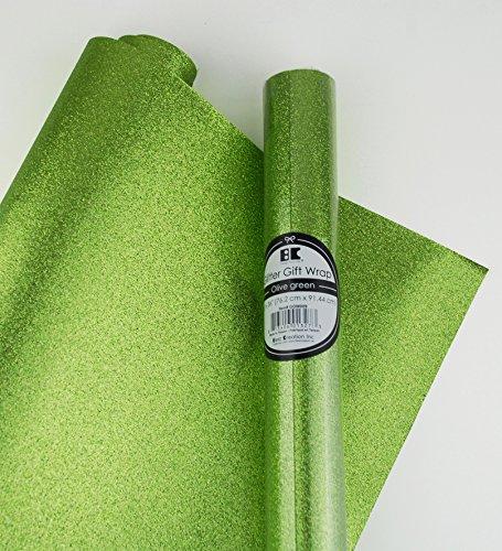 Glitter Gift Wrap- 2 Rolls- Olive Green