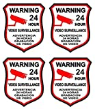 """4 Pcs Classical Popular Video Surveillance Sticker Sign Home Warning 24 Hour CCTV Alarm Decal Size 3"""" x 4.5"""" offers"""