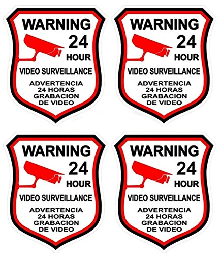 4 Pcs Classical Popular Video Surveillance Sticker Sign Home Warning 24 Hour CCTV Alarm Decal Size 3' x 4.5'