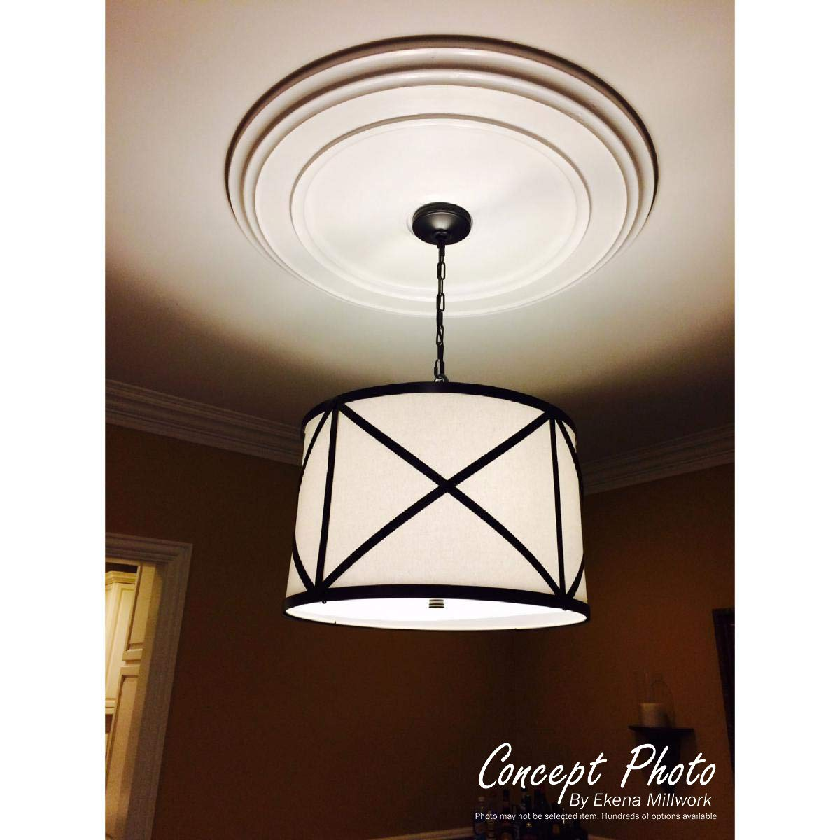 Ekena Millwork CM26HUSGS 22 1/8'' OD x 7 ID x 1 3/4'' P Hurley Ceiling Medallion (fits Canopies up to 7 1/4''), Hand-Painted, Steel Gray by Ekena Millwork (Image #3)