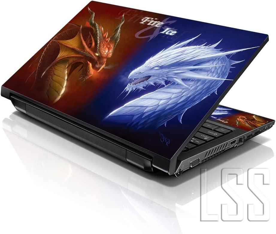 LSS Laptop 15 15.6 Skin Cover with Colorful Fire & Ice Dragons Pattern for HP Dell Lenovo Apple Asus Acer Compaq - Fits 13.3