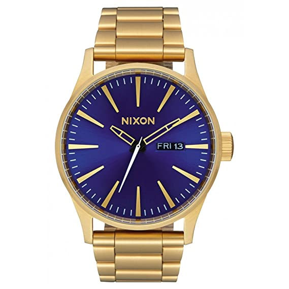 Reloj NIXON Sentry SS All Gold Blue Sunray A3562735 Hombre Oro: Amazon.es: Relojes