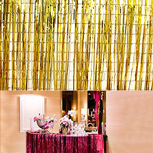 Swity Home 1 Pack Gold Coloured Ribbon Metallic Gold Foil Fringe Curtains for Wedding, Party Decoration, Event Party Supplies