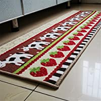 USIX 40x120cm Creative Cows and Strawberry Printing Washable Nylon Runner Rug with Anti-Slip TPR Backing, Rug for Home Decoration, Doorway, Kitchen, Pets, Welcome Rug