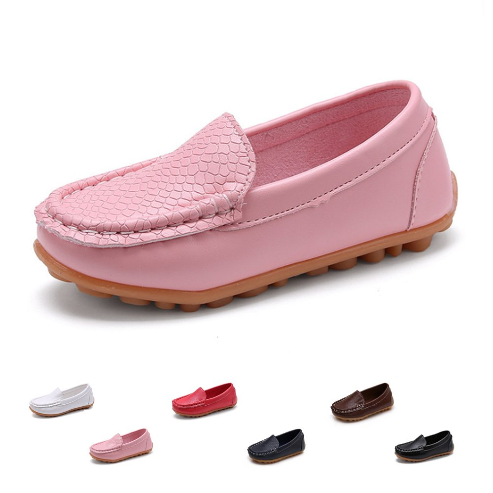 SOFMUO Boys Girls Leather Loafers Slip-On Oxford Flats Boat Dress Schooling Daily Walking Shoes(Toddler/Little Kids) Pink,30