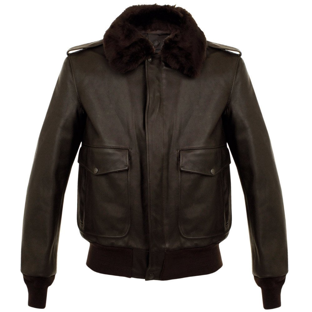 Mens A-2 Naked Cowhide Brown Genuine Leather Flight Jacket