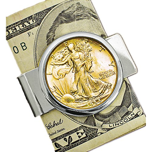 Coin Money Clip - Silver Walking Liberty Half Dollar Layered in Pure 24k Gold | Brass Moneyclip Layered in Silver-Tone Rhodium | Holds Currency, Credit Cards, Cash | Genuine U.S. Coin