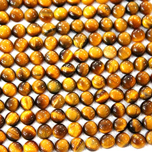 20pcs Coin 6mm Natural Tiger's Eye Gemstone Cabochons for Jewelry Making Beads Cabs