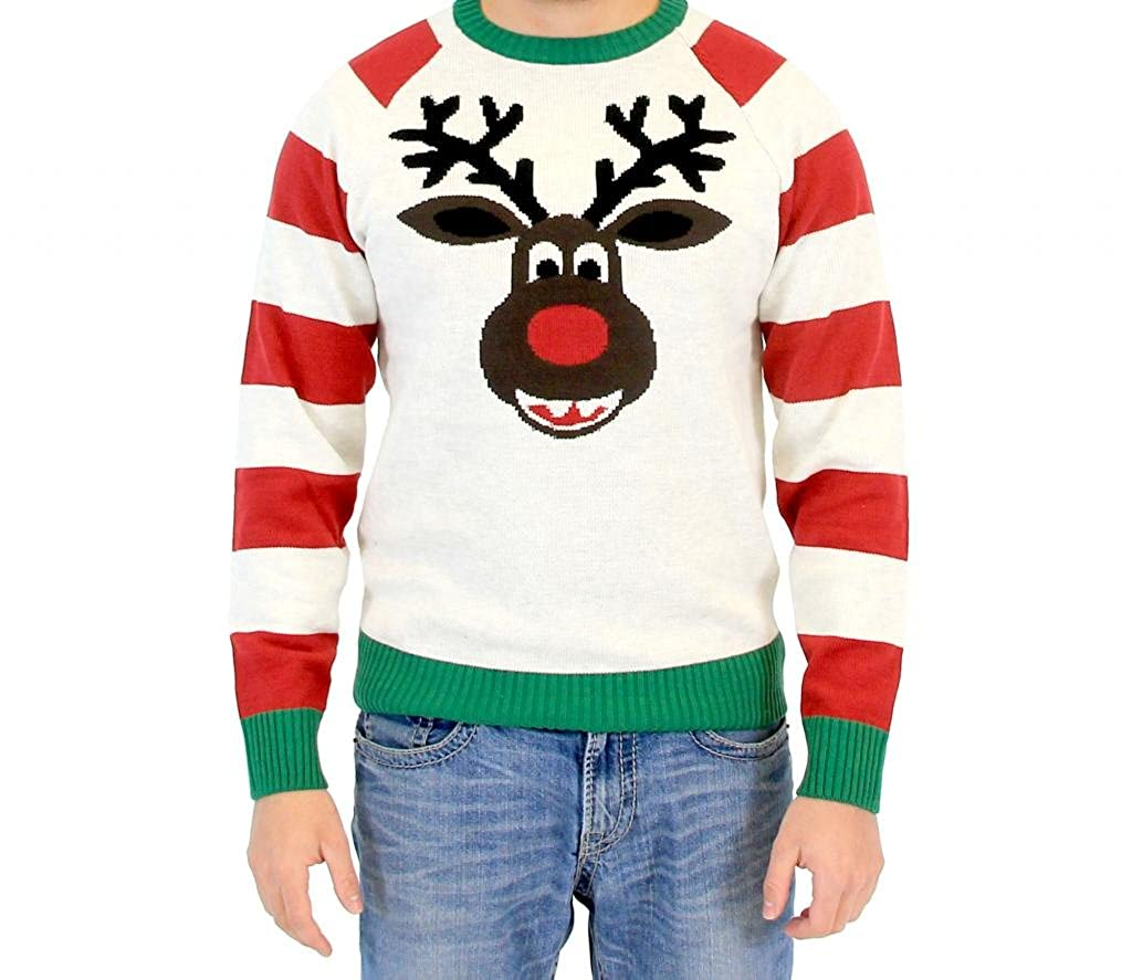 Reindeer Face Striped Sleeve Adult Ugly Christmas Sweater