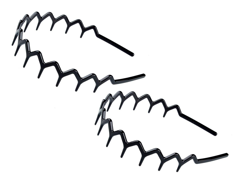 Set of 2 Zig Zag Black Plastic Sharks ToothHair Comb Headband (2 Black Color)