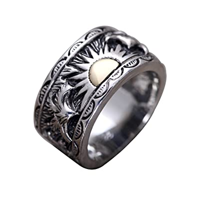 Vintage Black 925 Sterling Silver Gold Rising Sun Ring Band Jewelry with  Eagles for Men Women Size 8-11 5