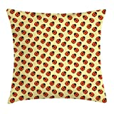 Ambesonne Ladybugs Throw Pillow Cushion Cover, Cute Bugs Children Cartoon Style Stars Polka Dots Nature Inspirations, Decorative Square Accent Pillow Case, 16 X 16 Inches, Mustard Vermilion Black