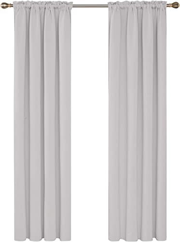 Deconovo Extra Long Rod Pocket Blackout Curtain Thermal Insulated Drapes Sun Blocing Blackout Curtains for Patio Sliding Glass Door 52Wx108L Inch Greyish White Set of 2 Panels