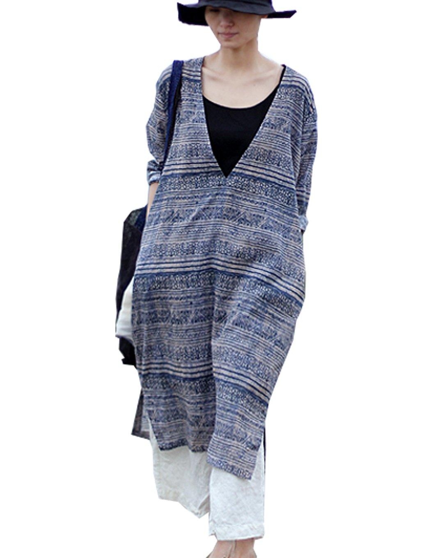 SUFEI Women's Cotton Linen Casual Loose Midi Dress Blue Plus Size