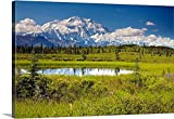 Canvas On Demand Premium Thick-Wrap Canvas Wall Art Print entitled Mt.McKinley and the Alaska Range with kettle pond in foreground, Denali National Park