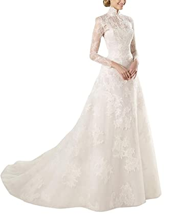 M Bridal Women\'s Illusion Long Sleeve High Neck Long Lace Bridal ...