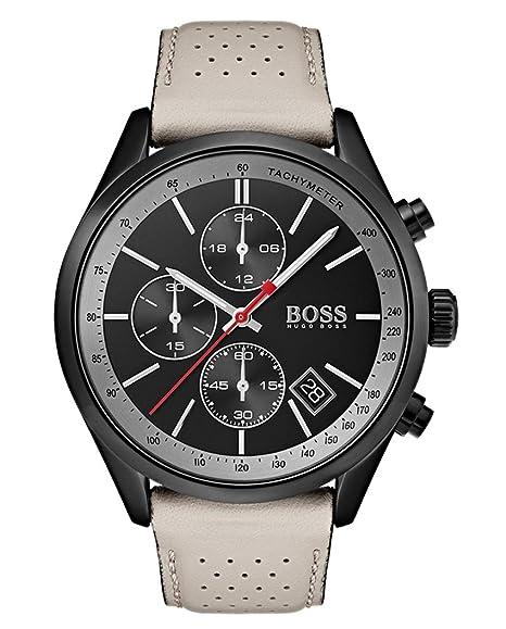 Hugo BOSS Reloj Cronógrafo para Hombre de Cuarzo con Correa en Cuero 1513562: Amazon.es: Relojes