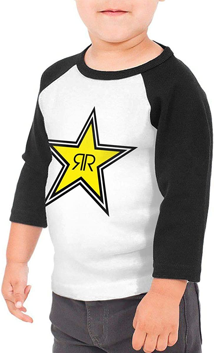 Rockstar Energy-Drink Childrens Sleeve T-Shirt Casual Classic Cotton Shirt with Round Collar Black