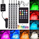 Automotive LED Decor Strip Lights, 4pcs 48 LED Lights DV 12V Car Colorful Music RGB LED Interior Lighting, Car Decorative Lights, With Sound-activated, Remote Controller, Car Charger Included