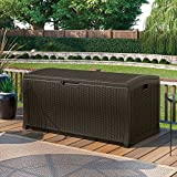 Suncast 52 in. 122-Gallon Resin Wicker Deck Box